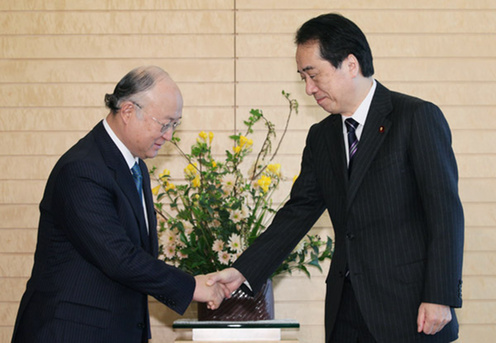 (Photo : Prime Minister Kan receives courtesy call by IAEA Director General Yukiya Amano 1)