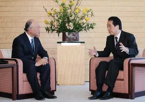 (Photo : Prime Minister Kan receives courtesy call by IAEA Director General Yukiya Amano 2)