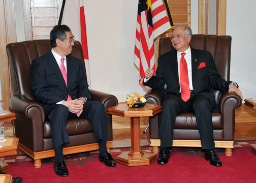 (Photo:Courtesy Call on Prime Minister of Malaysia Hon. Dato' Sri Mohd Najib by Minister for Foreign Affairs Takeaki Matsumoto)