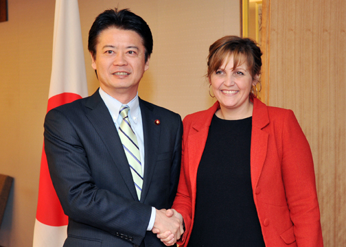(Photo)Courtesy Call on Minister for Foreign Affairs of Japan Mr. Koichiro Gemba by Ms. Pia Olsen Dyhr, Danish Minister for Trade and Investment-1