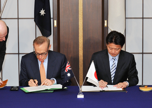 (Photo)Signing of the Japan-Australia Information Security Agreement (ISA)-1