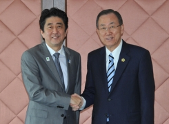 Courtesy call on Prime Minister Shinzo Abe  by Mr. Ban Ki-moon, Secretary-General of the United Nations