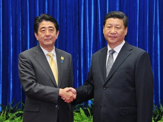 Japan-China Summit Meeting (November 10, 2014)(Photo: Cabinet Public Relations Office)