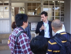 (photo3) CIR guides travel agents from abroad at Tomioka Silk Mill, Gumma Prefecture
