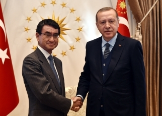 Foreign Minister Kono Pays a Courtesy Call on the President Erdogan 1