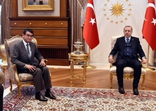 Foreign Minister Kono Pays a Courtesy Call on the President Erdogan 2