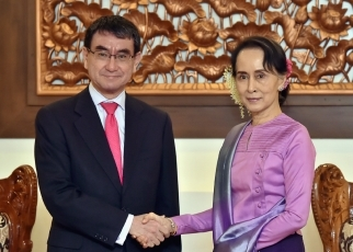 Foreign Minister Kono Visits Myanmar1