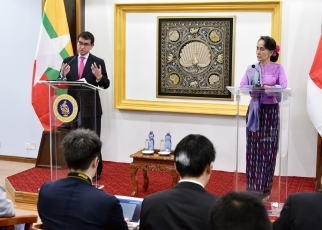 Foreign Minister Kono Visits Myanmar2