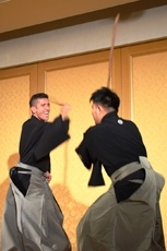 (Photo 8) A demonstration of Jigen-ryu at the Regional Promotion Seminar on December 11, 2017.