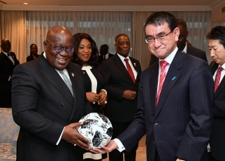 Foreign Minister Kono Pays a Courtesy Call on His Excellency Nana Addo Dankwa AKUFO-ADDO, President of the Republic of Ghana