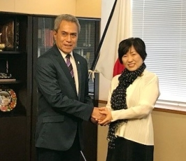 State Minister Abe Received a Courtesy Call from Sili, Minister of Finance of the Independent State of Samoa