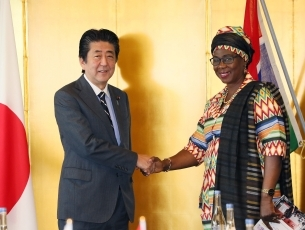 (photo1)Courtesy Call on Prime Minister Shinzo Abe by H.E. Ms. Isatou Touray, Vice-President of The Gambia