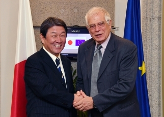 Foreign Minister Motegi and European Union High Representative/ European Commission Vice-President Borrell shaking hands