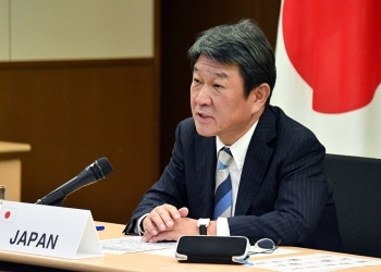 (Photo 2) Foreign Minister Motegi speaking at the meeting