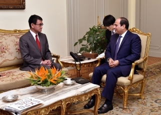 FM Kono Pays a Courtesy Call on the President of Egypt