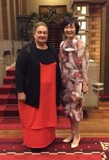 (写真1)安倍昭恵総理大臣夫人とジリアン・ムリエル・マリエレガオイ・サモア独立国首相夫人