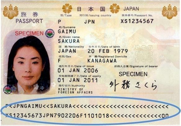 画像(ICAO標準の機械読取式旅券)