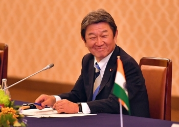 (写真3)会合中の茂木外務大臣