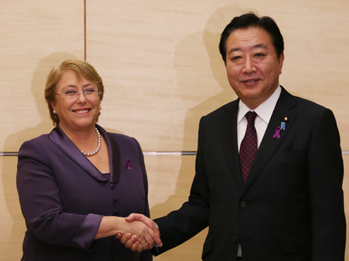 Courtesy Call on Prime Minister Noda by Her Excellency, Ms. Michelle Bachelet, Executive Director of UN Women 1