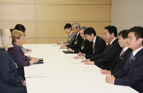 Courtesy Call on Prime Minister Noda by Her Excellency, Ms. Michelle Bachelet, Executive Director of UN Women 2