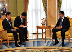 (Photo) Minister for Foreign Affairs Kishida Pays Courtesy Call on His Royal Highness Crown Prince Al-Muhtadee Billa (2)