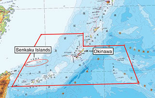 The administrative rights of all of the islands within the area inside the straight lines on the map were returned to Japan in 1972 in accordance with the Okinawa Reversion Agreement. The Senkaku Islands are included in this area.